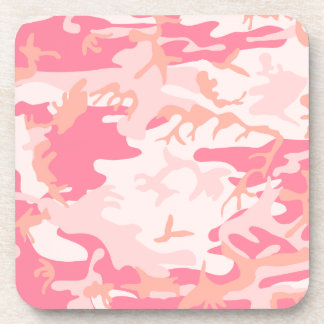 Pink camouflage design beverage coasters