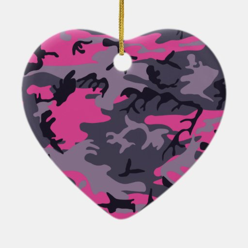 Pink camouflage design Double-Sided heart ceramic christmas ornament