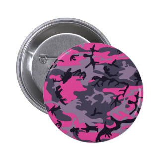 Pink camouflage design pinback button