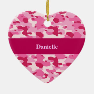 Pink Camouflage Double-Sided Heart Ceramic Christmas Ornament