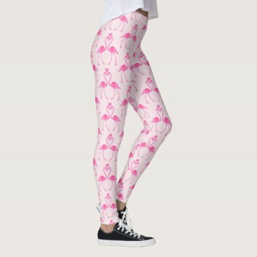 Beach Themed Pink Camouflage Flamingo Valentine's Day Leggings