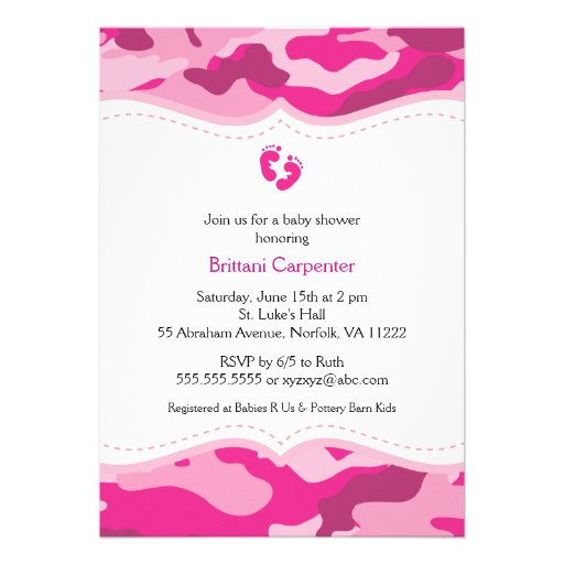 Pink Camo Baby Shower Invitations is an amazing ideas you had to choose for invitation design