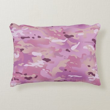 Pink Camouflage I Accent Pillow