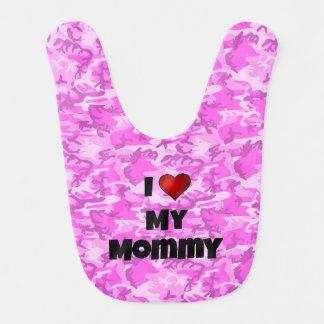 "Pink Camouflage ""I love my Mommy"" Baby Bib"