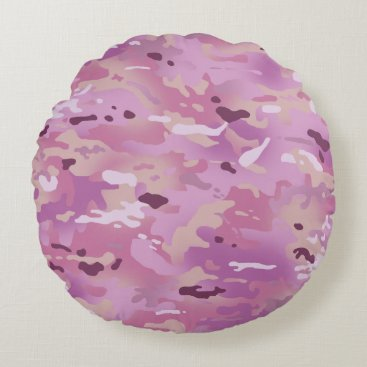 Pink Camouflage I Round Pillow