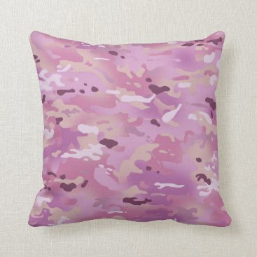 Pink Camouflage I Throw Pillow