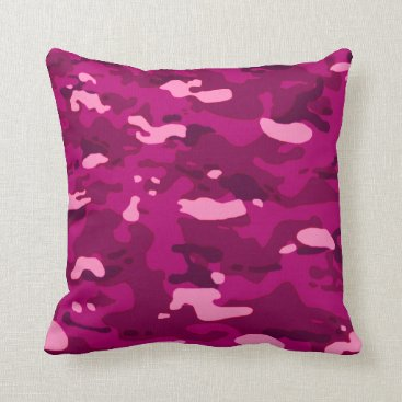 Pink Camouflage II Throw Pillow
