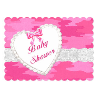 Pink Camouflage Lace Heart Baby Shower Invitation