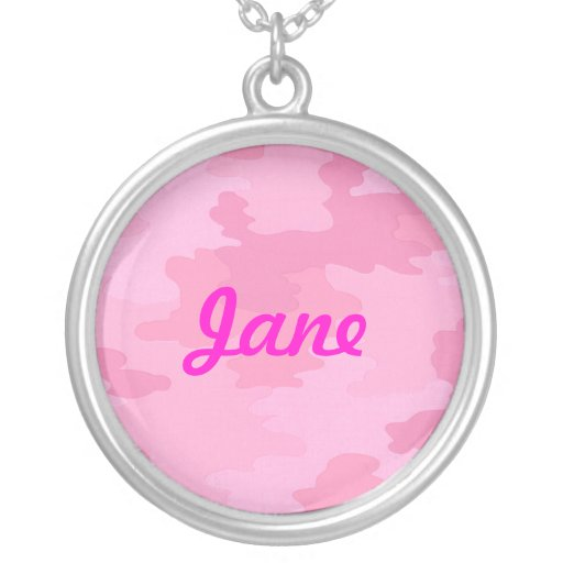 Pink Camouflage Name Necklace