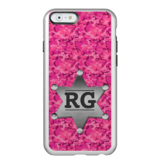 Pink Camouflage Pattern Sheriff Badge Monogram Incipio Feather Shine iPhone 6 Case