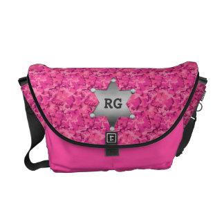 Pink Camouflage Pattern Sheriff Badge Monogram Messenger Bags