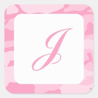 Pink Camouflage Pattern Square Sticker