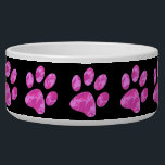 """Pink Camouflage Paw Bowl<br><div class=""""desc"""">animal paw that is the color of 3 different pink colors.  black background color can be changed.</div>"""