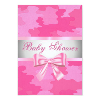 Pink Camouflage Pink Bow Baby Shower Invitation