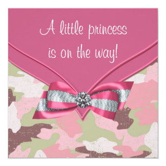 Pink Camouflage Princess Baby Shower Card