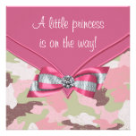 Pink Camouflage Princess Baby Shower Personalized Announcements