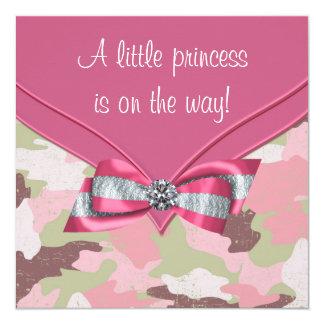 Pink Camouflage Princess Baby Shower Invitation