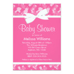 Pink Camouflage Printed Bow Baby Shower 5x7 Paper Invitation Card