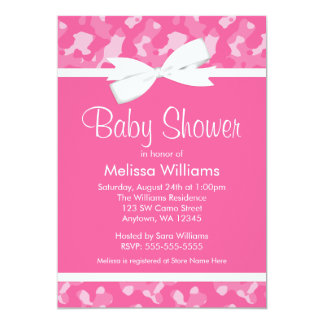 Pink Camouflage Printed Bow Baby Shower Custom Announcement