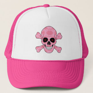 Pink Camouflage Red Eyes Skull And Crossbones Hat