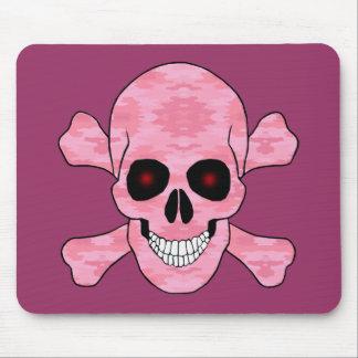 Pink Camouflage Red Eyes Skull Crossbones Mousepad