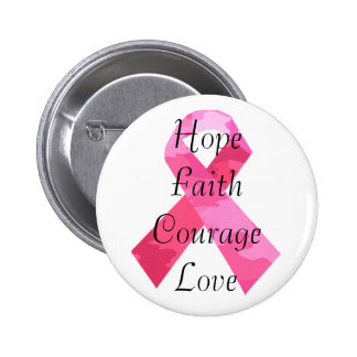 Pink Camouflage Ribbon Faith Button