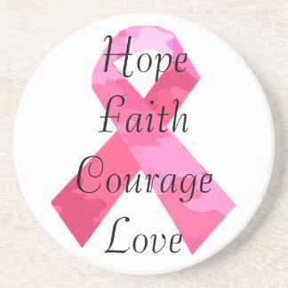 Pink Camouflage Ribbon Faith Coaster