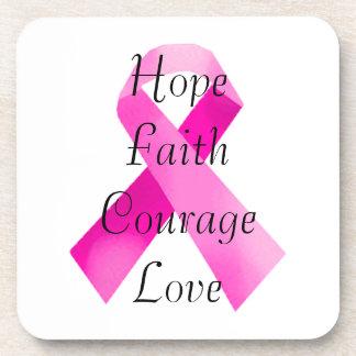 Pink Camouflage Ribbon Faith Coasters