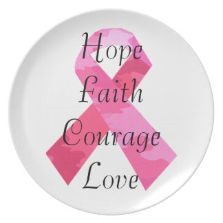 Pink Camouflage Ribbon Faith Dinner Plate