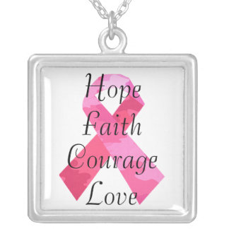 Pink Camouflage Ribbon Faith Necklace