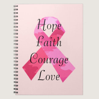 Pink Camouflage Ribbon Faith Spiral Notebook