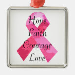 Pink Camouflage Ribbon Faith Square Ornament