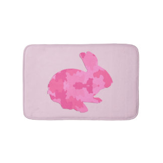Pink Camouflage Silhouette Bunny Rabbit Bath Mat