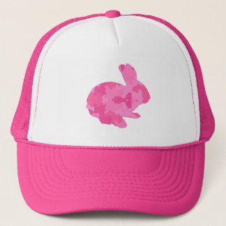 Pink Camouflage Silhouette Easter Bunny Hat