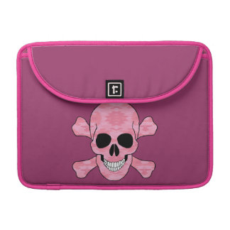 Pink Camouflage Skull And Crossbone Macbook Sleeve