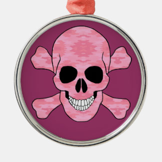 Pink Camouflage Skull And Crossbone Round Ornament