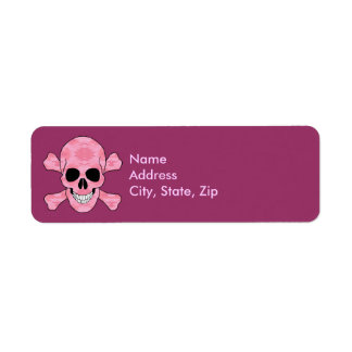 Pink Camouflage Skull And Crossbones Address Label
