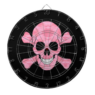 Pink Camouflage Skull And Crossbones Dart Board