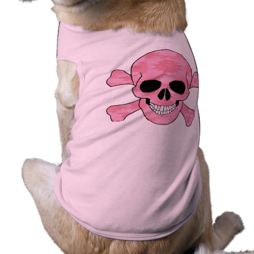 Pink Camouflage Skull And Crossbones Dog Shirt