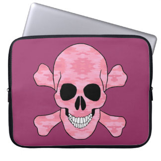 Pink Camouflage Skull And Crossbones Laptop Sleeve