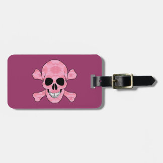 Pink Camouflage Skull And Crossbones Luggage Tag