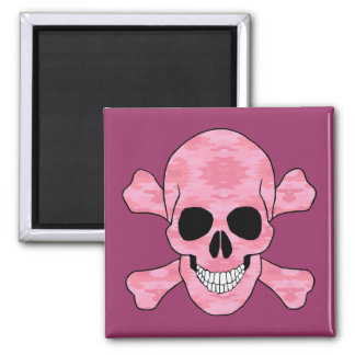 Pink Camouflage Skull And Crossbones Magnet