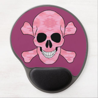 Pink Camouflage Skull And Crossbones Mouse Pad Gel Mouse Pad