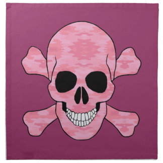 Pink Camouflage Skull And Crossbones Napkins