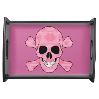 Pink Camouflage Skull And Crossbones Serving Tray