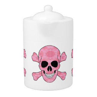 Pink Camouflage Skull And Crossbones Teapot