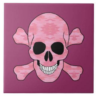 Pink Camouflage Skull And Crossbones Tile