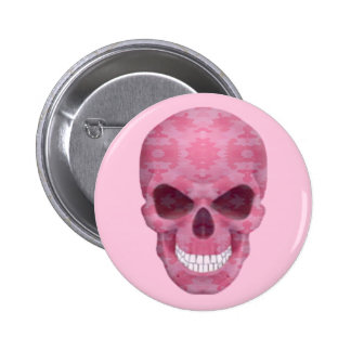 Pink Camouflage Skull Button