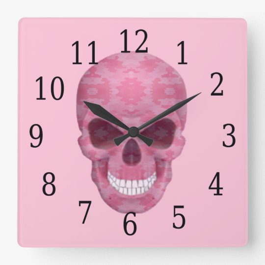 Pink Camouflage Skull Clock
