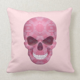 Pink Camouflage Skull Throw Pillow